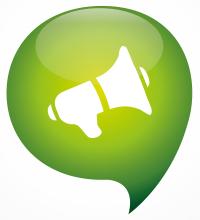 speaker icon green think bubble symbol logo, isolated on white background